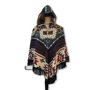 Southwestern style hooded cape with fringe trim OS